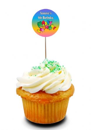 Rainbow Happy Birthday Cupcake Picks/Toppers